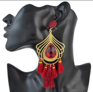 E-4497 5 Colors Bohemian Gold Alloy Big Crystal Fringe Tassel Long Drop Earrings for Women Party Jewelry