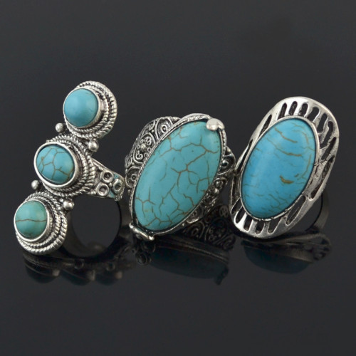 R-1495 Vintage Tibetan Silver Plated Turquoise Rings Adjustable Ring