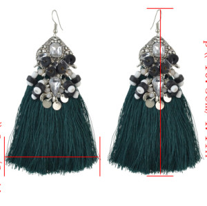 E-4502 *3 Colors Boho Resin Beads Crystal Statement Thread Tassel Drop Earrings for Women Wedding Party Jewelry