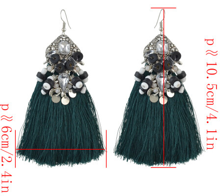 E-4502 6 Colors Boho Resin Beads Crystal Statement Thread Tassel Drop Earrings for Women Wedding Party Jewelry