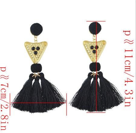 E-4500 New Fashion Gold Metal Thread Long Tassel Drop Earrings for Women Bohemian Party Fashion Jewelry