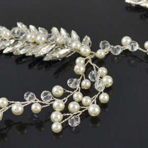 F-0478 Luxury Fashion  Flowers Rhinestone Crystal Pearl Beads  Hairband Bridal Wedding Women Hair Accessories Jewelry