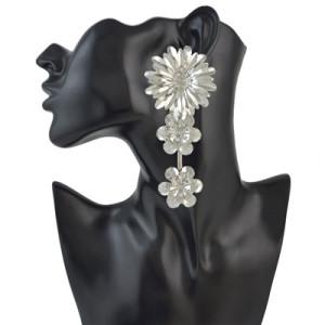 E-4505 3 Colors Fashion Alloy Rhinestone Flower Earring  Women Jewelry
