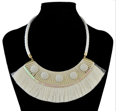 N-7007 3 Colors Bohemain Leather Chain Fringe Tassel Pendant Necklaces for Women Wedding Party Jewelry