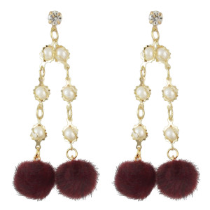 E-4503 Fashion Gold Plated Drop Earrings Rhinestone Pearl Long Chain Pendant Ball Fringe Earring