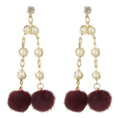 E-4503 Fashion Gold Plated Drop Earrings Rhinestone Pearl Long Chain Pendant Ball Fringe Earring