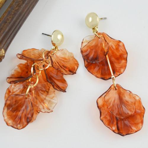 E-4507 2 Style New fashion Amber Pattern Circular Acrylic Long Drop Earrings Jewelry