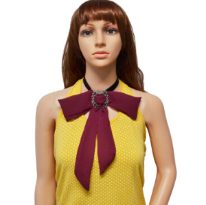 N-7006 Ribbon Chain Big Chiffon Bowknot Flower Button Choker Necklace For Women