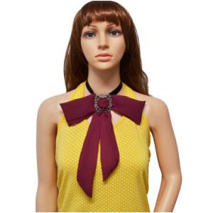 N-7006 Ribbon Chain Big Chiffon Bowknot Flower Button Choker Necklace For Women