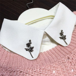 P-0393 Fashion Vintage Silver Gold Flower Brooches Alloy Rose Shaped Unisex Inspired Brooch Pins for Women&Men