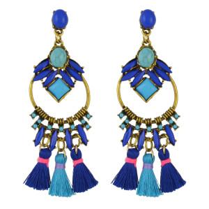 E-4508 Bohemia 5 Colors Statement Earring Long Fringe Tassel Thread Beaded Resin Drop Dangle Earrings for Women