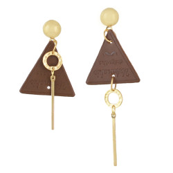 E-4510 Personality Punk Irregular Long Triangle Leather Earring for Women