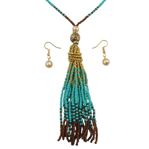 N-7021 4 Colors Bohemian Gold Plated Resin Beaded Statement Drop Earrings Necklace Sets Engagement Gift