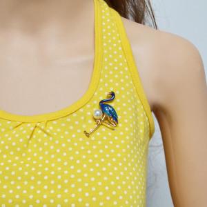 P-0398 3 Color Bird Enamel Brooches Women Metal Animal Brooch Pins Dress Jacket Pin Fashion Accessories