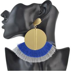 E-4511-BL * Fashion Gold Metal Statement Drop Dangle Earring Acrylic Tassel Thread Long Earrings for Women Bridal Jewelry