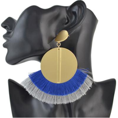 E-4511 Fashion Gold Metal Statement Drop Dangle Earring Acrylic Tassel Thread Long Earrings for Women Bridal Jewelry