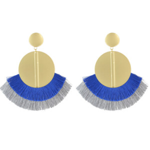 E-4511-BL * Fashion Gold Metal Statement Drop Dangle Earring Acrylic Tassel Thread Long Earrings for Women Bridal Jewelry