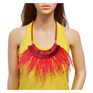 N-7022 Bohemia Feather Tassels Leather Rhinestone Elegant Women Necklace