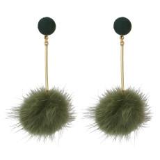 E-4512 Korean Sweet Long Drop Earrings Plush Ball Pendant Stud Earring Women Girls Ear Accessory