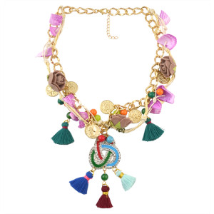 N-7013 Vintage flower Tassels thread Acrylic Coin Gold Plated Necklace Women's Engagement Gift