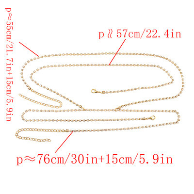 N-7018 Trendy Gold-Plated Rhinestone Women Chain Necklace Body Jewelry For Party