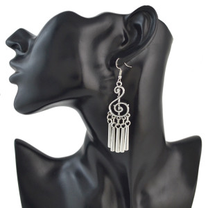 E-4520 Bohemian 3 Styles Vintage Silver Alloy Fringe Charm Geometry Hollow Parttren Musical Notation Rhombus Earring for Women