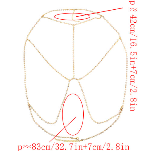 N-7015 Sexy Bikini Bralette Chain Harness Necklace Crossover Body Bra Chain for Women