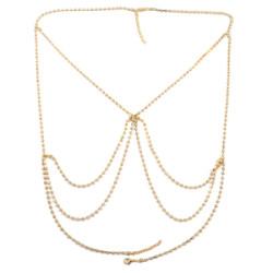N-7016 Sexy Bikini Bralette Chain Harness Necklace Crossover Body Bra Chain for Women