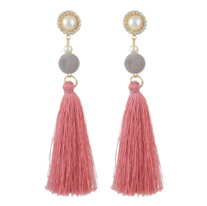 E-4513 New Fashion 3Colors Crystal  Rhinestone Pearl Thread tassel pendant Earrings