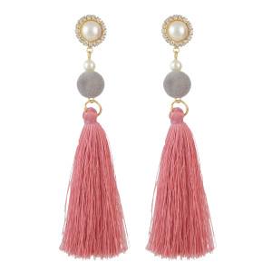E-4513 New Fashion 3Colors Crystal  Rhinestone Pearl Thread tassel pendant Earrings
