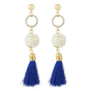 E-4514 Handmade Gold Plated Long Drop Earrings Bohemian Tassels Rhinestone Stud Earring