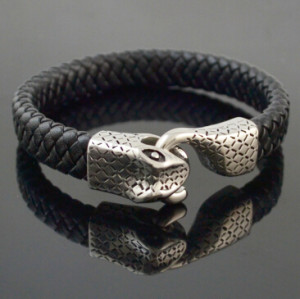 B-0880  New Arrival Vintage Bohemian 1 Styles with Snake Shape Leather Alloy Bracelet for Women & Man Gifts Accessories