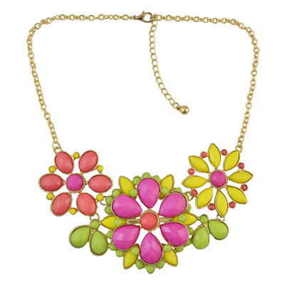 N-0141 3 Colors Gold Plated Acrylic Flower Shape Necklace Women Jewelry