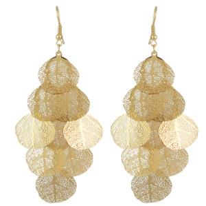 E-4523 Bohemian Gold Color Leaf Shape Long Drop Earrings for Women Fashion Jewelry