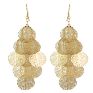 E-4523 Bohemian Gold Color Leaf Shape Long Drop Earrings for Women Fashion Jewelry