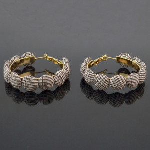 E-4524 Korean Style Button Round Metal Earrings Cloth Button Hoop Earring