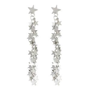 E-4525 Korean Style Silver Metal Personality Earrings  Stars Shaped Sheet Tassel Pendant Drop Dangle Earring