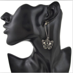 E-4528 Bohemian Silver Metal Butterfly Shape Craved Human Skeleton  Drop Earrings for Women Fashion Jewelry