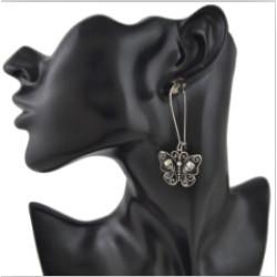 E-4528 Bohemian Silver Metal Butterfly Shape Craved Human Skeleton  Drop Earrings for Women Fashion Jewelry