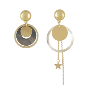 E-4529 Fashion Acrylic Alloy Crystal Star Circular Drop Dangle Earrings Women Engagement Jewelry