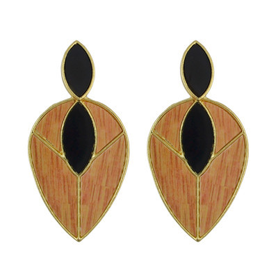E-4532 3 Colors Water Drop Shape Wood Stripes Acrylic Elegant Earrings Women Jewelry