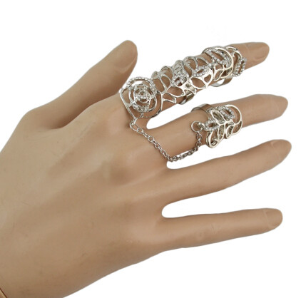R-1494 Fashion Women Hollow Flower Gold Silver Chain Link Crystal Knuckle Adjustable Finger Ring Party Jewelry
