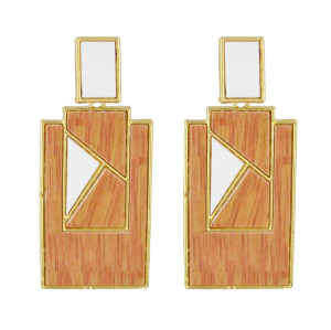 E-4533 3 Colors Bohemian Gold Plated Geometric Shape Acrylic Earrings Jewelry