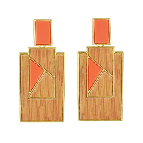 E-4533 3 Colors Bohemian Gold Plated Geometric Shape Acrylic Earrings Jewelry