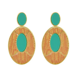 E-4534 Fashion Geometry Oval Pendant Drop Dangle Earrings