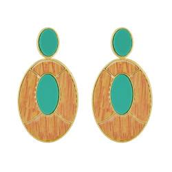 E-4534 Fashion Geometry Oval Pendant Drop Dangle Earrings