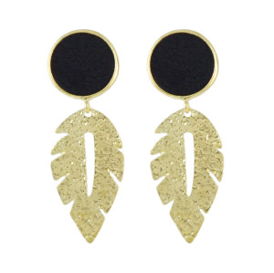 E-4530 Bohemian Circle Velvet Gold Alloy Leaf Water Drop Shape Dangle Earrings For Women Engagement Gift