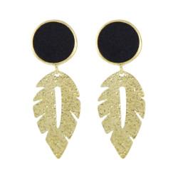 E-4530 Bohemian Circle Velvet Gold Alloy Leaf Water Drop Shape Dangle Earrings For Women Engagement Gift
