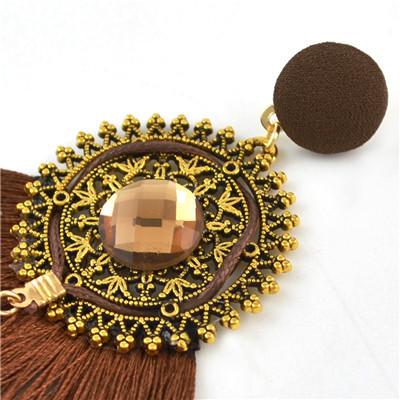 E-4535 5 Colors Bohemian Acrylic Gemstone Women Tassel Round Elegant Earrings