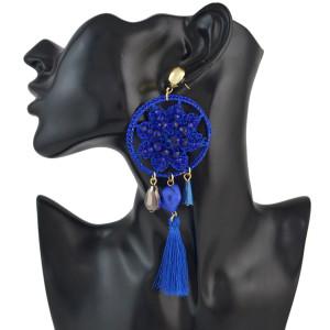 E-4539 Bohemian Fringe Charms Vintage Thread Flower Pattern  Acrylic Gemstone Women Tassel Pendant Elegant Dangle Earrings